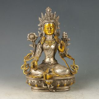 Chinese Antique Tibet Silver Gilt Carved Figure Of Buddha Statue