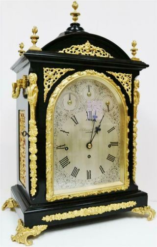 Antique English Ebonised & Bronze Triple Fusee Musical 4 & 8 Bell Bracket Clock 2