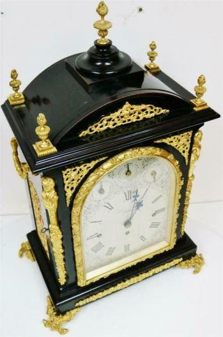 Antique English Ebonised & Bronze Triple Fusee Musical 4 & 8 Bell Bracket Clock 3