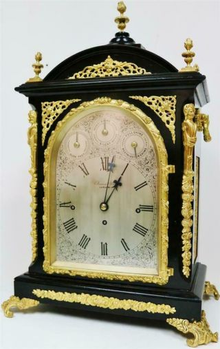 Antique English Ebonised & Bronze Triple Fusee Musical 4 & 8 Bell Bracket Clock 5