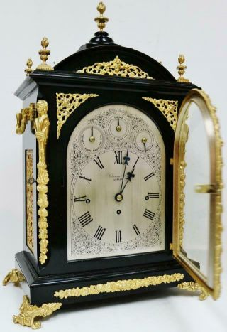 Antique English Ebonised & Bronze Triple Fusee Musical 4 & 8 Bell Bracket Clock 8