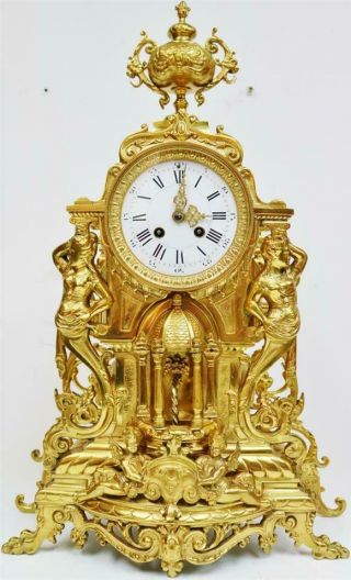 Large Antique French 8 Day Pierced Bronze Ormolu Ornate Mantel Clock