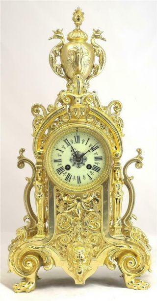 Antique French Mantle Clock 1880 Stunning Embossed Bronze Bell Strikng