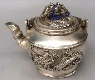Ancient Collectable Miao Silver Carve Dragon Exorcism Old Art Handwork Tea Pot