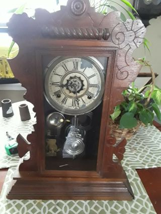 Antique Waterbury Co.  Mantle Parlor Clock Runs