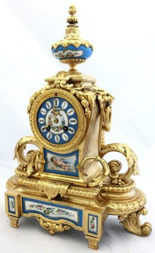 Antique French Mantle Clock Gilt Metal & Blue Sevres 8day By Japy