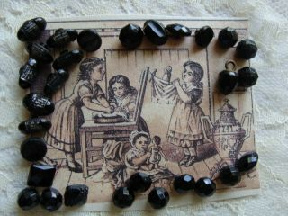 20,  Tiny Black Glass Buttons Faceted For Antique German/french Bisque Dolls
