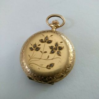 Rare 18k Solid Gold With Diamonds Full Hunter Pocket Watch - Serviced