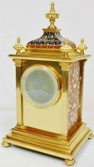 Exceptional Antique French 8 Day Bronze Ormolu & Champleve Enamel Mantle Clock 10