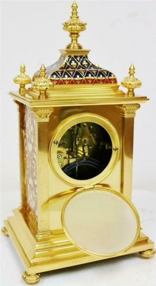 Exceptional Antique French 8 Day Bronze Ormolu & Champleve Enamel Mantle Clock 11