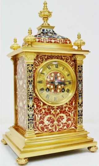 Exceptional Antique French 8 Day Bronze Ormolu & Champleve Enamel Mantle Clock
