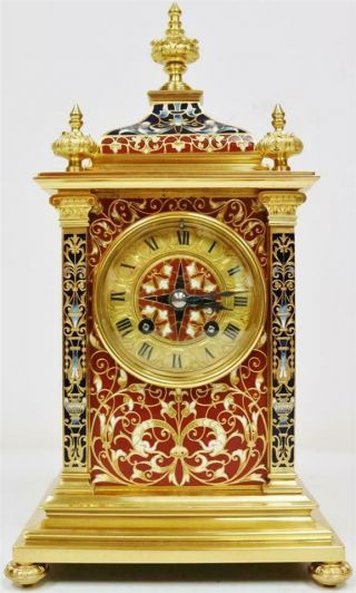 Exceptional Antique French 8 Day Bronze Ormolu & Champleve Enamel Mantle Clock 2