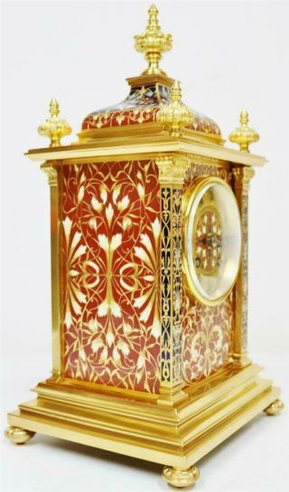 Exceptional Antique French 8 Day Bronze Ormolu & Champleve Enamel Mantle Clock 3