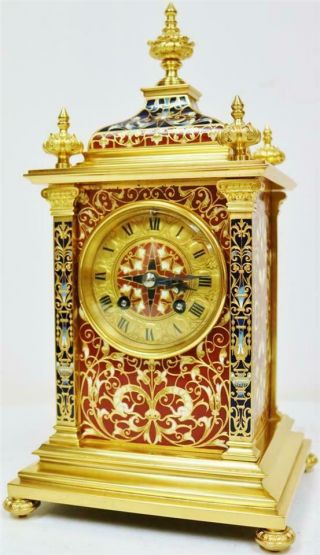 Exceptional Antique French 8 Day Bronze Ormolu & Champleve Enamel Mantle Clock 4