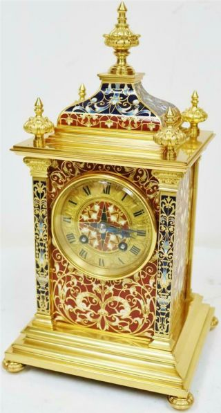 Exceptional Antique French 8 Day Bronze Ormolu & Champleve Enamel Mantle Clock 5