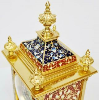 Exceptional Antique French 8 Day Bronze Ormolu & Champleve Enamel Mantle Clock 7