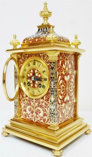 Exceptional Antique French 8 Day Bronze Ormolu & Champleve Enamel Mantle Clock 8