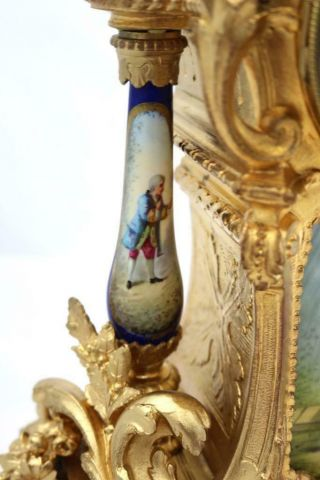 Antique Mantle Clock Outstanding French Gilt & Blue Sevres Striking C1880 11