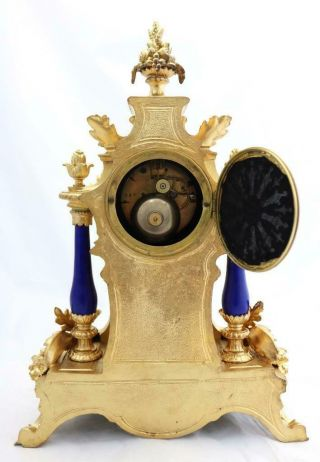 Antique Mantle Clock Outstanding French Gilt & Blue Sevres Striking C1880 12