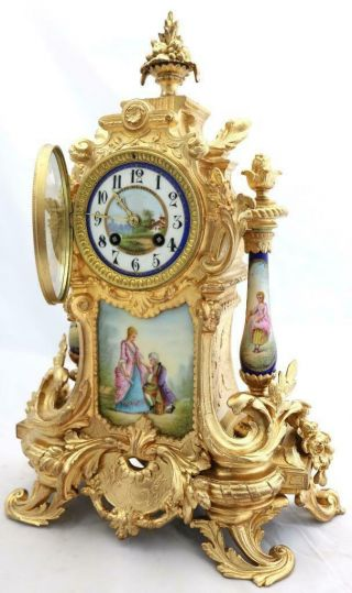 Antique Mantle Clock Outstanding French Gilt & Blue Sevres Striking C1880 2