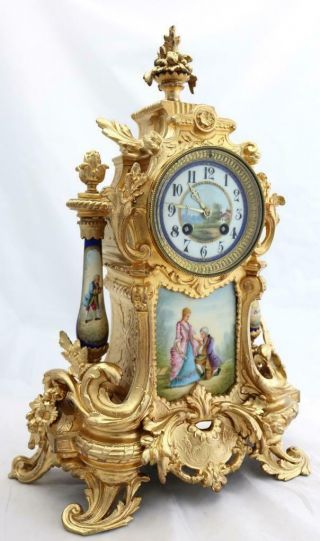 Antique Mantle Clock Outstanding French Gilt & Blue Sevres Striking C1880 3