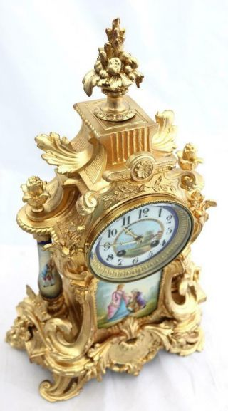 Antique Mantle Clock Outstanding French Gilt & Blue Sevres Striking C1880 4