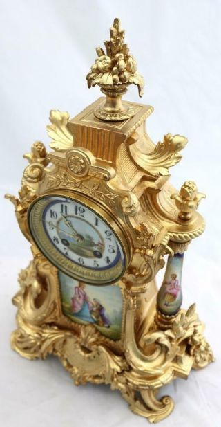 Antique Mantle Clock Outstanding French Gilt & Blue Sevres Striking C1880 5