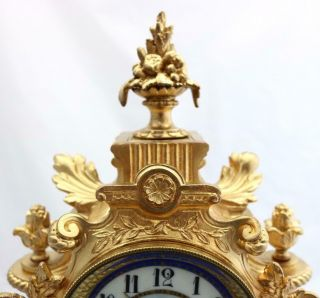 Antique Mantle Clock Outstanding French Gilt & Blue Sevres Striking C1880 6