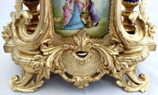 Antique Mantle Clock Outstanding French Gilt & Blue Sevres Striking C1880 9