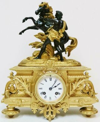 Rare Stunning Antique French Mantel Clock 8 Day Gilt Metal Marly Horse & Trainer