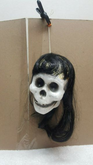 Vintage 1960s Shrunken Head Witch White Blow Mold Plastic W Long Black Hair