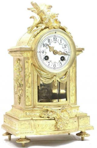 Antique French Mantle Clock Rare Embossed Bronze 8 Day 1880