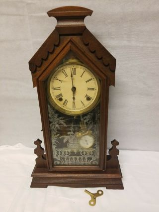 Antique Walnut Victorian Ansonia Shelf Clock With Key.