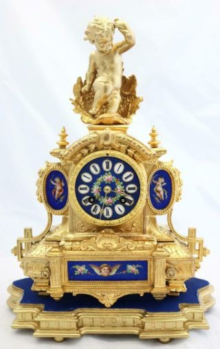 Antique French Mantle Clock Stunning Finish & Blue Sevres 8 Day Figural