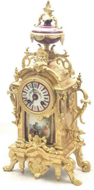 Antique Mantle Clock French Gilt & Red Sevres Bell Striking C1880