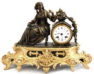 Antique Mantle Clock French 8 Day Stunning 2 Tone Figural Gilt C1855