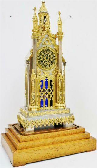 Antique French Empire Bronze & Silvered Cathedral Automaton Mantle Clock 3