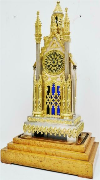 Antique French Empire Bronze & Silvered Cathedral Automaton Mantle Clock 6