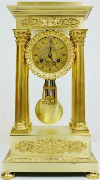 Rare Antique French Empire Bronze Ormolu Portico Table Regulator Mantle Clock