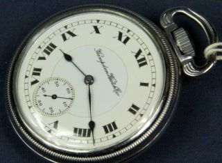 A 47.  Hampden 16 Size 17 J 2 Tone Movement,  D.  S.  Porcelain Dial In A Display C