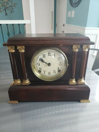 Antique Sessions 4 Pillar Mantle Clock,  Half Hour Strike,  Cathedral Gong
