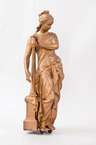Ansonia Music & Poetry Double Standing Figural Clock Music Figure Only @ 1890