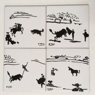 Vintage Picasso Ceramic Art Tiles