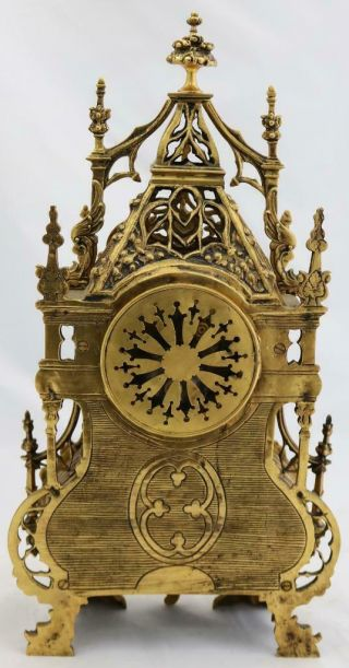 Antique French Mantle Clock 1880 Embossed Pierced Bronze Striking 8Day 10