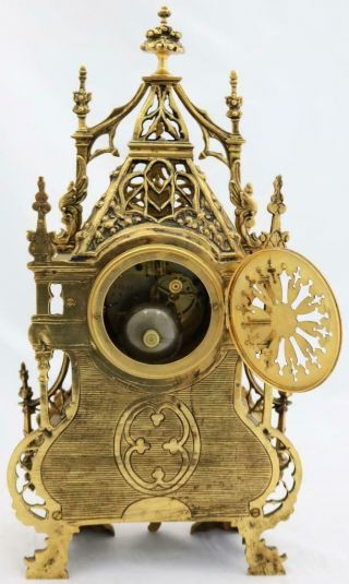 Antique French Mantle Clock 1880 Embossed Pierced Bronze Striking 8Day 11