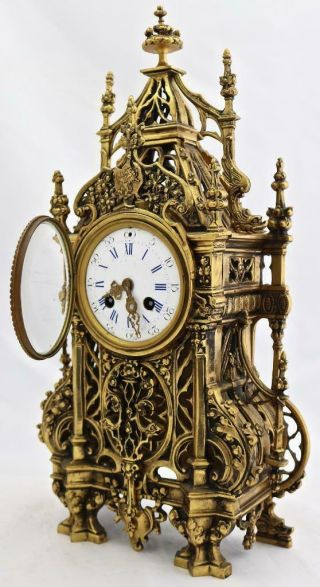 Antique French Mantle Clock 1880 Embossed Pierced Bronze Striking 8Day 2