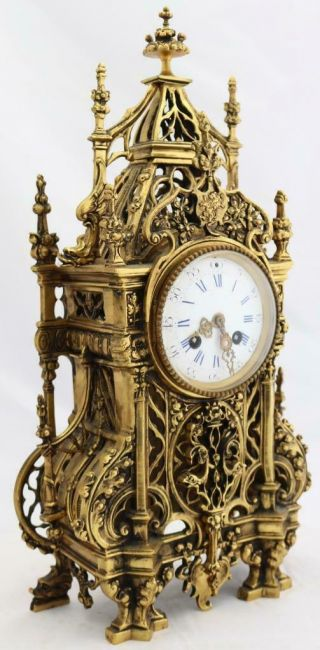 Antique French Mantle Clock 1880 Embossed Pierced Bronze Striking 8Day 3