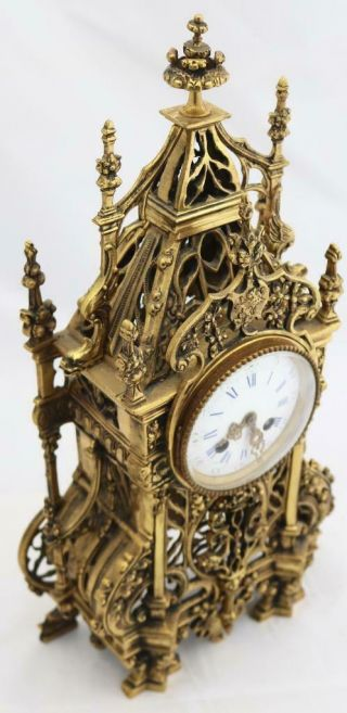 Antique French Mantle Clock 1880 Embossed Pierced Bronze Striking 8Day 4