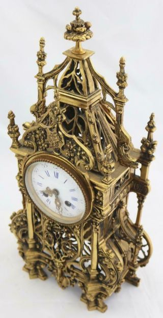 Antique French Mantle Clock 1880 Embossed Pierced Bronze Striking 8Day 5