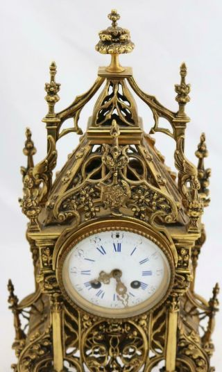 Antique French Mantle Clock 1880 Embossed Pierced Bronze Striking 8Day 6